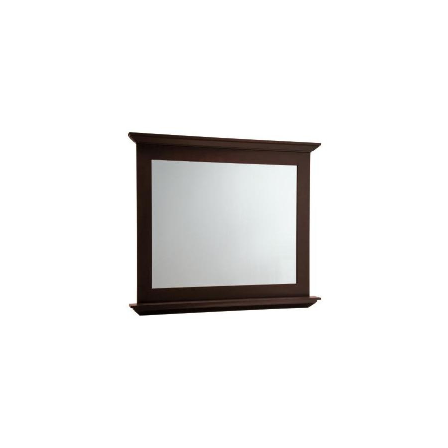 allen + roth Palencia 42-in W x 34-in H Espresso Rectangular Bathroom Mirror