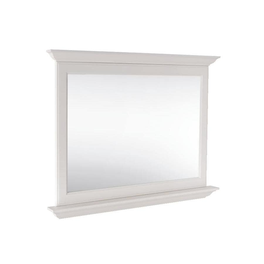 allen + roth Britwell 42-in W x 34-in H Cream Rectangular Bathroom Mirror