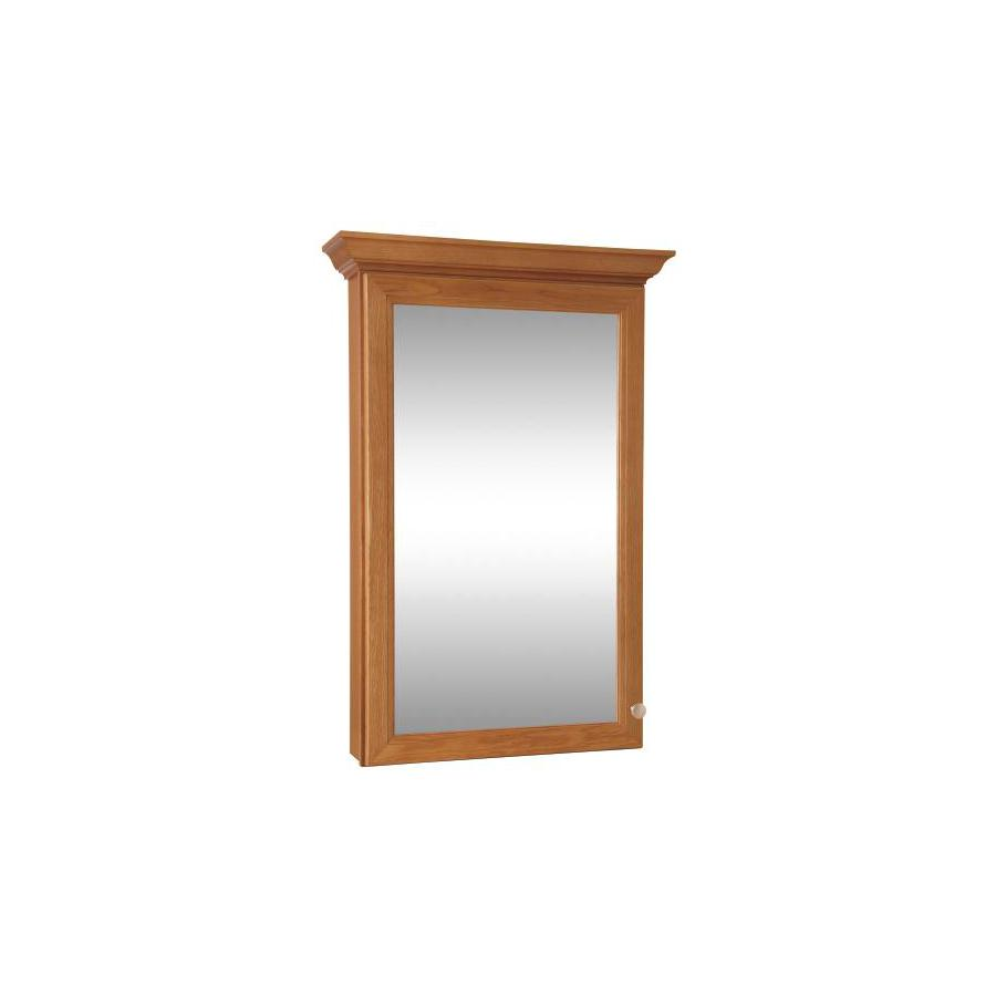 Style Selections Northrup Honey 25-in W x 34-in H x 6.7-in D Manufacturer Color/Finish Bathroom Wall Cabinet