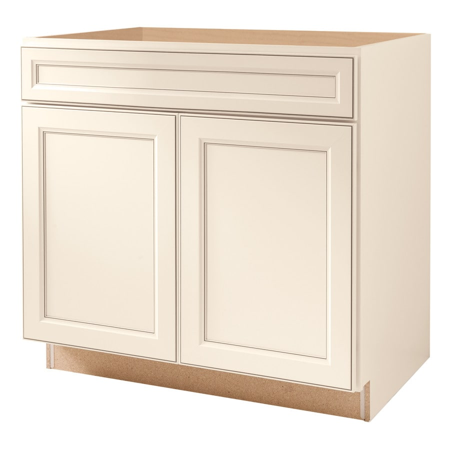Diamond NOW Caspian 36-in W x 35-in H x 23.75-in D Laminate Toasted Antique Engineered Wood Door and Drawer Base Cabinet