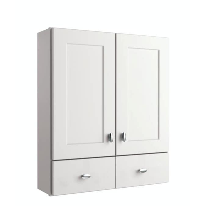 Diamond Freshfit Palencia White 34 In H X 25 In W X 8 In D Painted Wall Cabinet In The Bathroom Wall Cabinets Department At Lowes Com