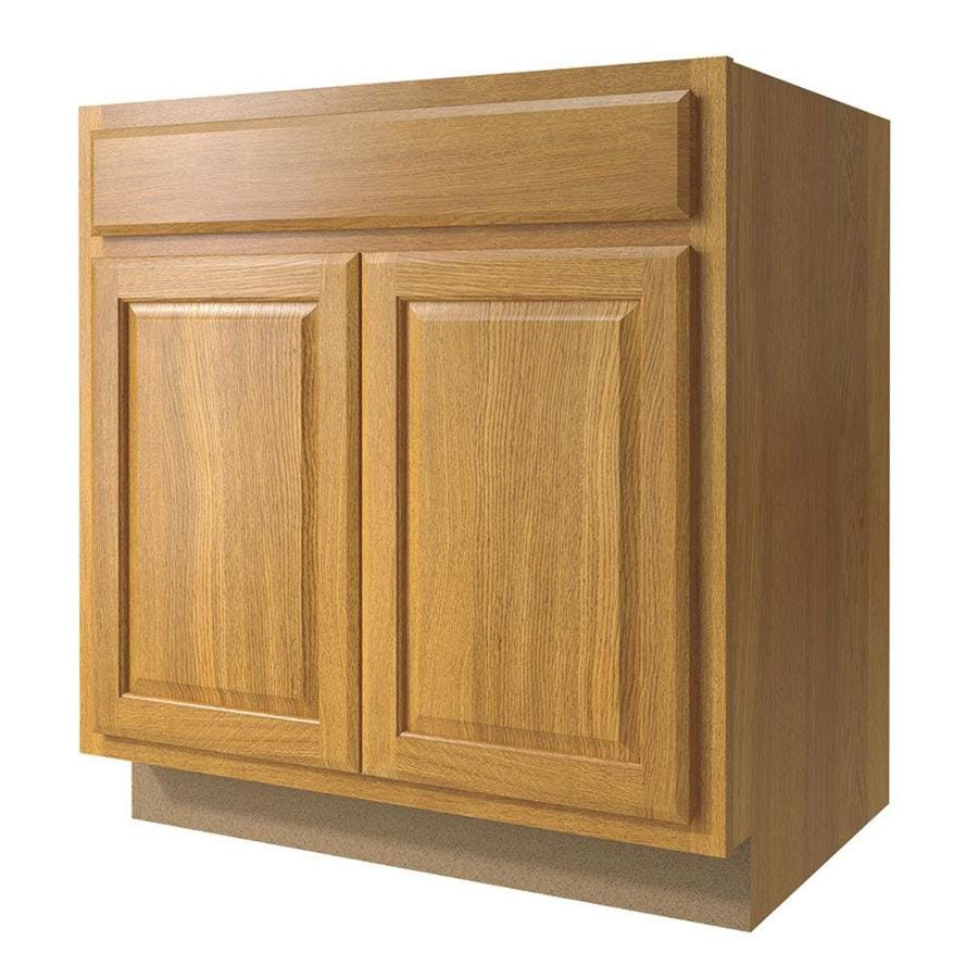 Diamond NOW Portland 33-in W x 35-in H x 23.75-in D Wheat Square Door and Drawer Base Cabinet