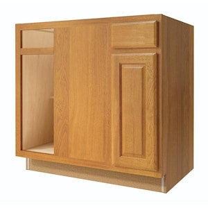 Diamond NOW Portland 36-in W x 35-in H x 23.75-in D Wheat Blind Corner Base  Stock Cabinet at Lowes.com