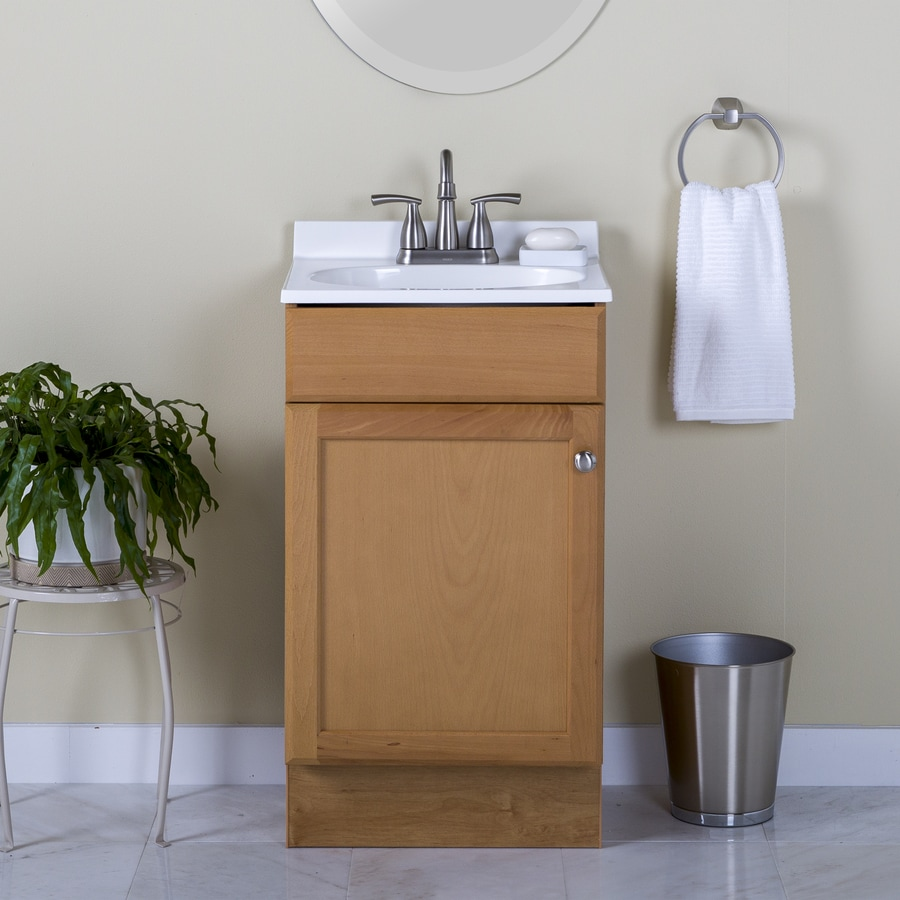 Project Source Oak 18.6-in Integral Single Sink Bathroom Vanity with Cultured Marble Top