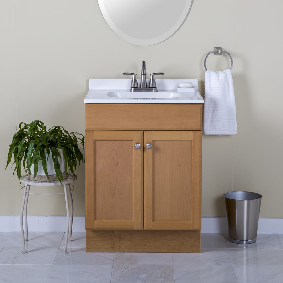 Shop Project Source Oak 24 5 In Integral Single Sink Bathroom Vanity With Cul