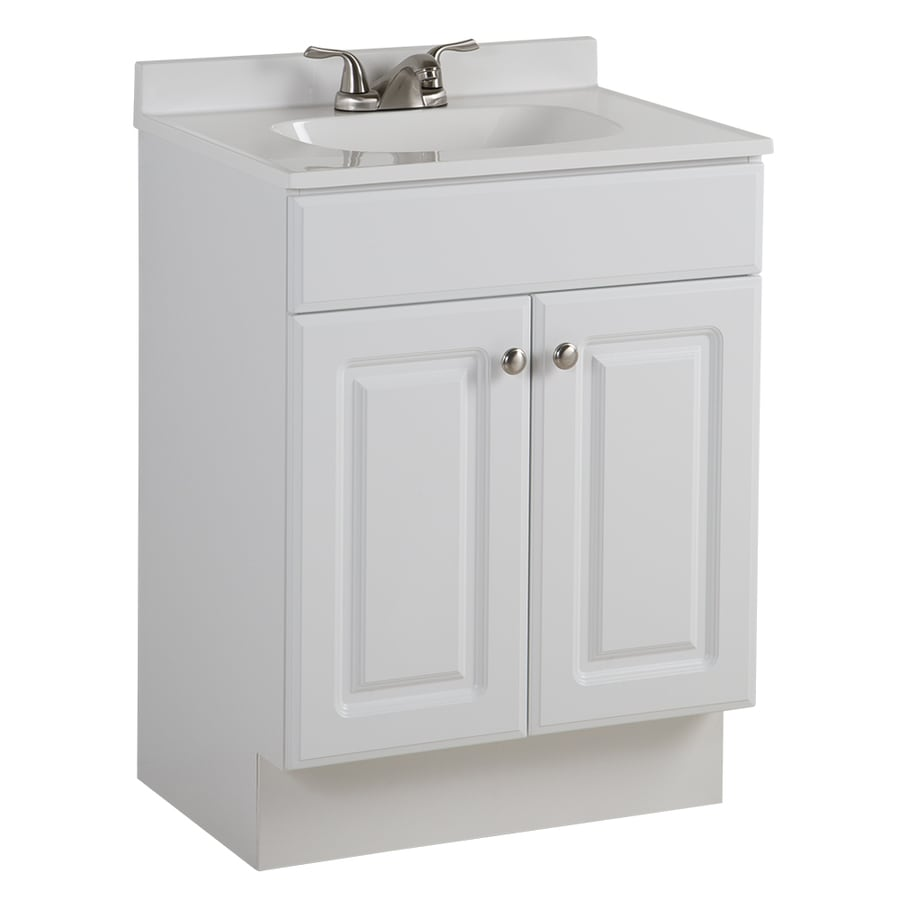 Shop project source white integrated single sink bathroom vanity with cultured marble top Marble top bathroom vanities
