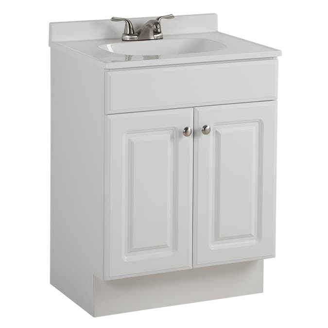 Project Source 24 5 In White Single Sink Bathroom Vanity With White Cultured Marble Top In The Bathroom Vanities With Tops Department At Lowes Com