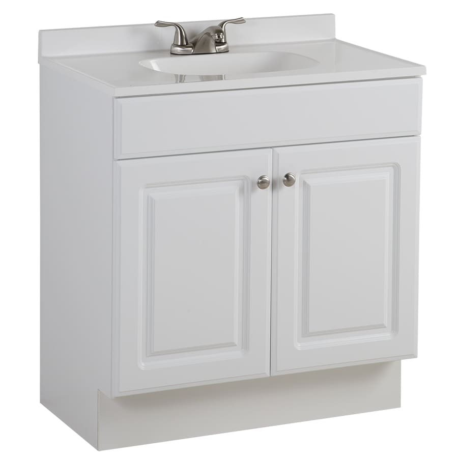 Shop project source white integrated single sink bathroom vanity with cultured marble top White bathroom vanity cabinets