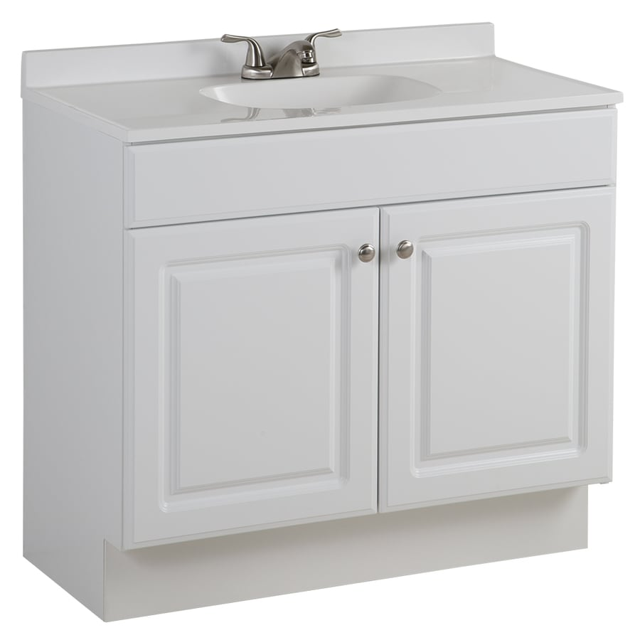 project source white integrated single sink bathroom vanity with cultured marble top common 36 - White Bathroom Cabinets And Vanities