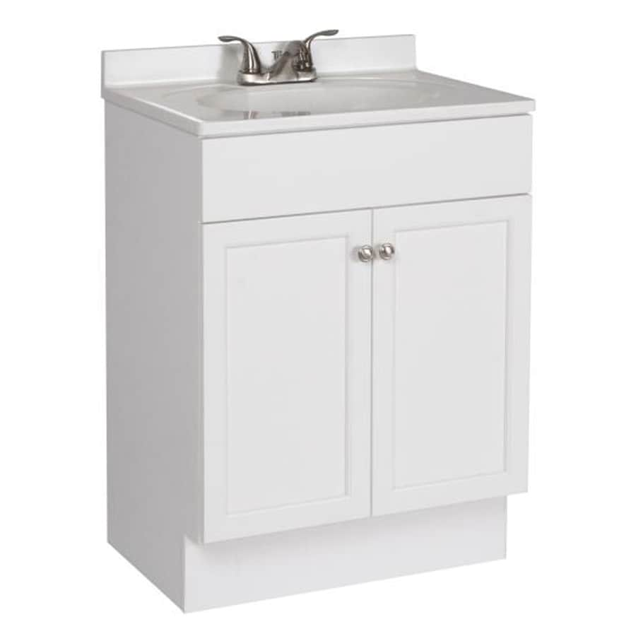 project source white integrated single sink bathroom vanity with cultured marble top common 24 - Bathroom Cabinets At Lowes