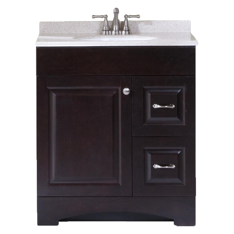 Style Selections Espresso Integral Single Sink Bathroom Vanity With  Cultured Marble Top (Common: 30