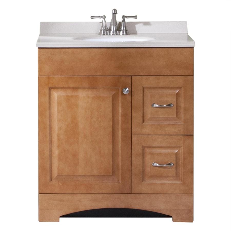 Style selections honey integral single sink bathroom - 30 bathroom vanity with marble top ...