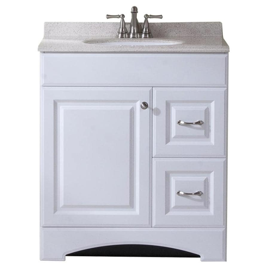 Shop style selections almeta white integrated single sink bathroom vanity with cultured marble Lowes bathroom vanity and sink