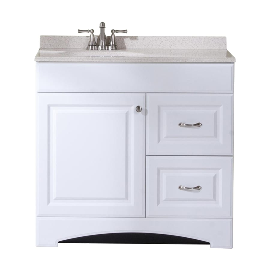 Shop style selections almeta white vanity with tan cultured marble top common 36 in x 19 in Marble top bathroom vanities