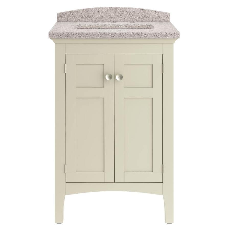 allen + roth Brisette Cream (Common: 24-in x 21-in) Undermount Single Sink Bathroom Vanity with Cultured Marble Top (Actual: 23.98-in x 20.67-in)