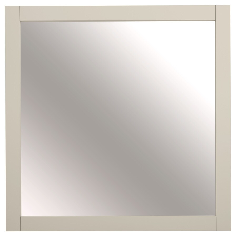 Shop allen roth brisette 30 in x 30 in cream square for Square mirror