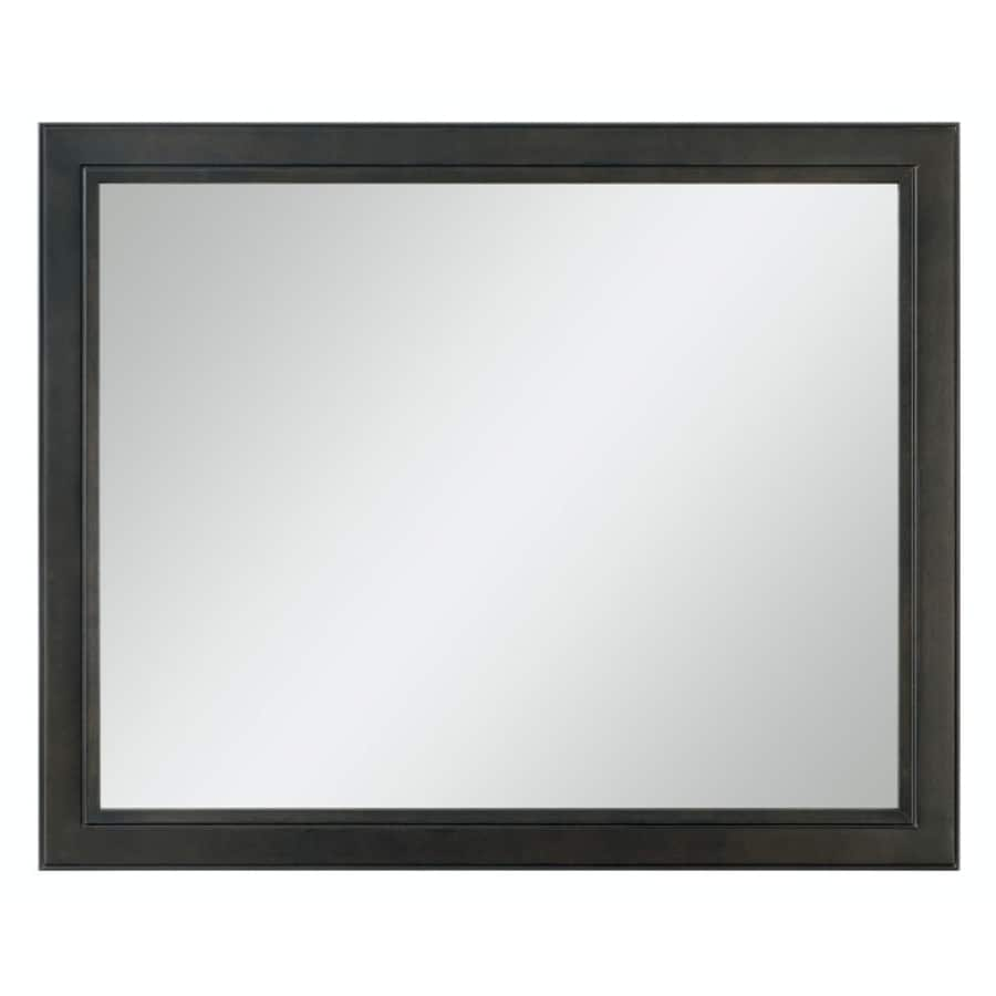 Bathroom mirror black frame - Diamond Freshfit Goslin 42 In X 34 In Storm Rectangular Framed Bathroom Mirror