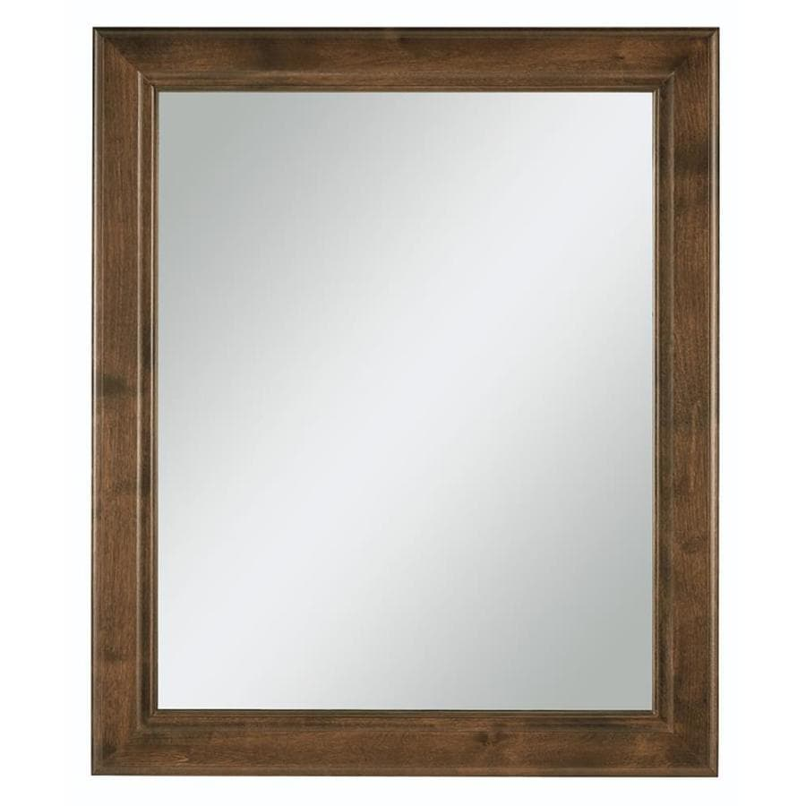 Diamond FreshFit Webster 30-in x 34-in Mink Espresso Rectangular Framed Bathroom Mirror