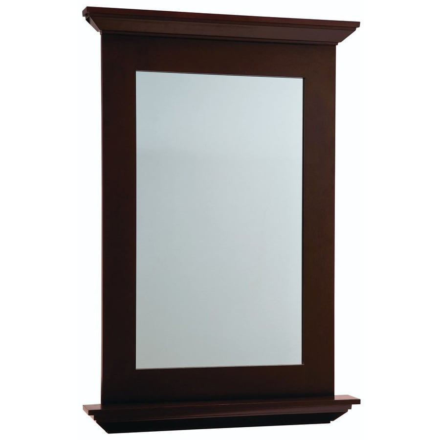 25 in w x 34 in h espresso rectangular bathroom mirror at lowes com