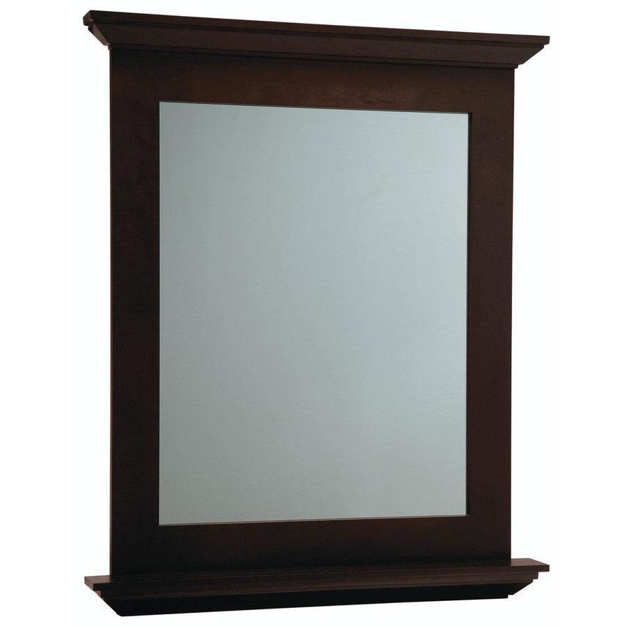 Diamond FreshFit Palencia 30 In X 34 In Espresso Rectangular Framed Bathroom  Mirror