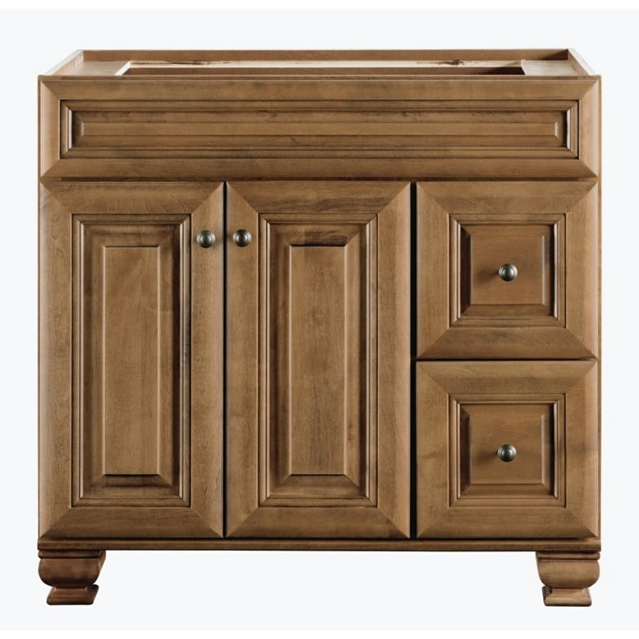 Lowes corner bathroom vanity - Diamond Freshfit Ballantyne Freestanding Mocha With Ebony Glaze Bathroom Vanity Common 36 In