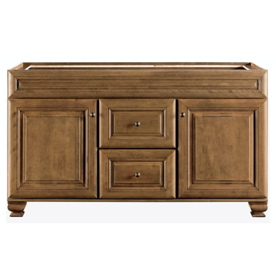 Diamond Freshfit Ballantyne 60 In Mocha With Ebony Glaze Bathroom Vanity Cabinet