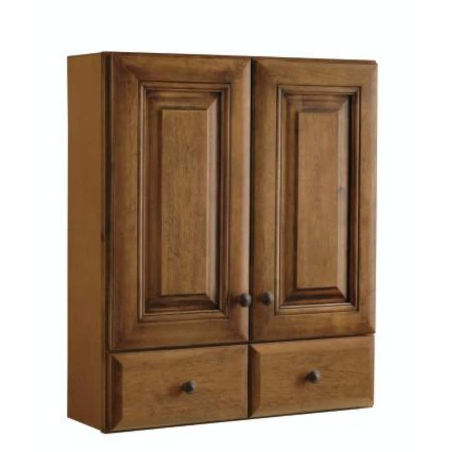 Diamond FreshFit Ballantyne 28.4-in W x 31.3-in H x 9.2-in D Mocha with Ebony Glaze Particleboard Bathroom Wall Cabinet