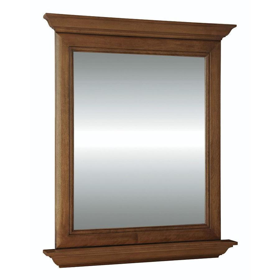 Diamond FreshFit Ballantyne 30-in x 34-in Mocha With Ebony Glaze Rectangular Framed Bathroom Mirror