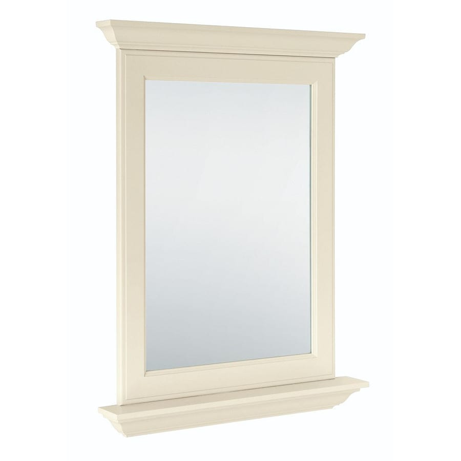 Diamond FreshFit Britwell 25-in x 34-in Cream Rectangular Framed Bathroom Mirror