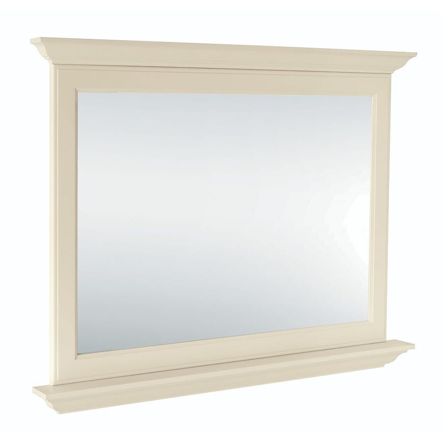 Diamond FreshFit Britwell 42-in x 34-in Cream Rectangular Framed Bathroom Mirror