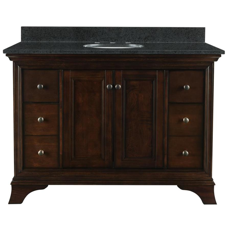 Bathroom single vanity - Allen Roth Eastcott 48 97 In Auburn Undermount Single Sink Bathroom Vanity With Granite Top