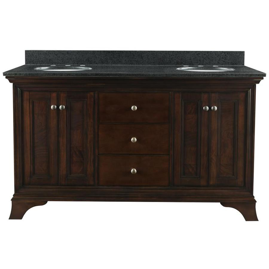 Shop allen roth eastcott auburn undermount double sink bathroom vanity with granite top Used bathroom vanity with sink