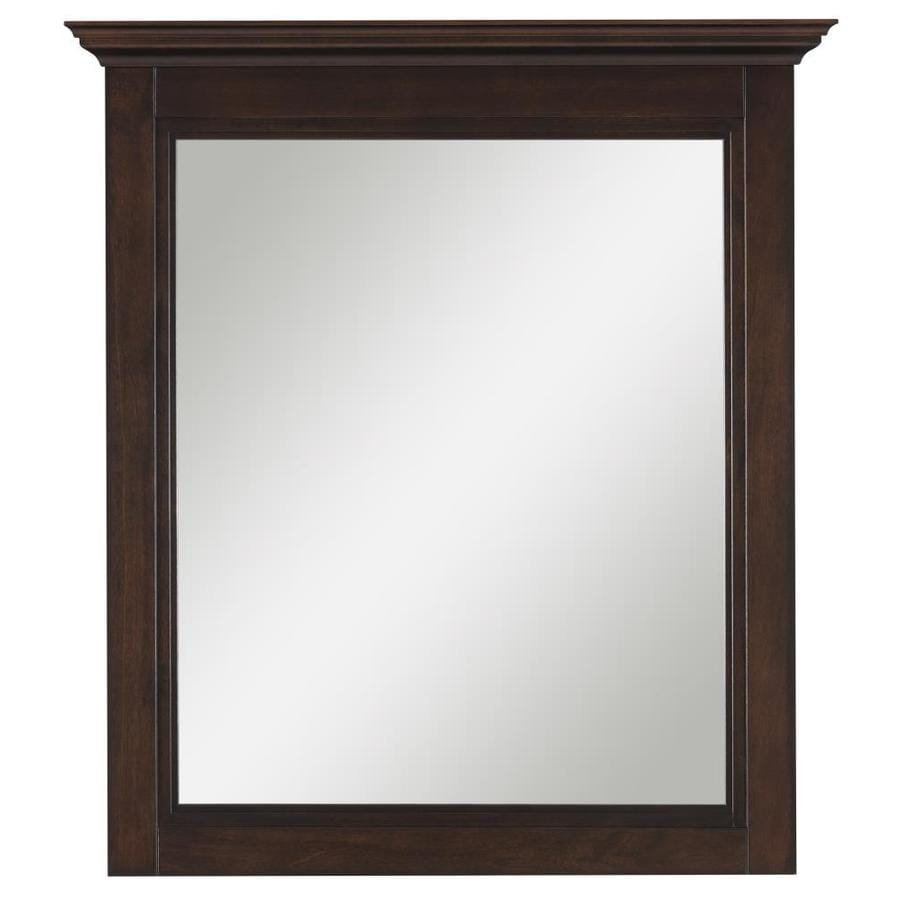Bathroom mirrors wood frame - Allen Roth Eastcott 30 In H Auburn Rectangular Bathroom Mirror