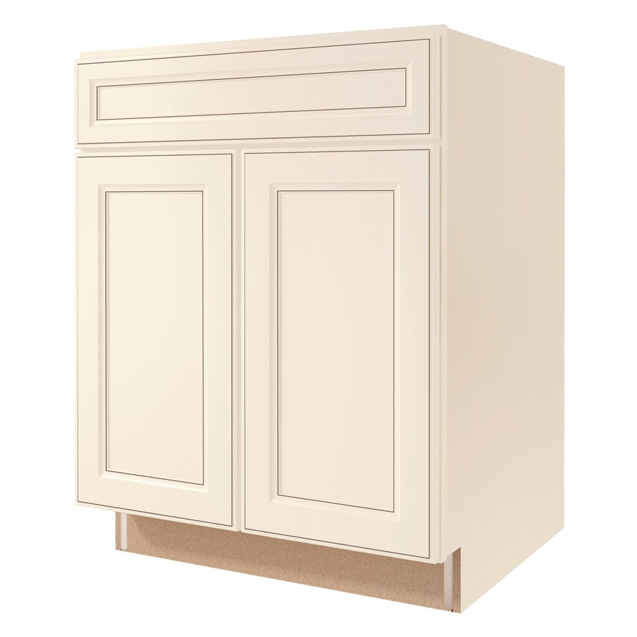 Diamond NOW Caspian 27-in W x 35-in H x 23.75-in D Laminate Toasted Antique Engineered Wood Door and Drawer Base Cabinet