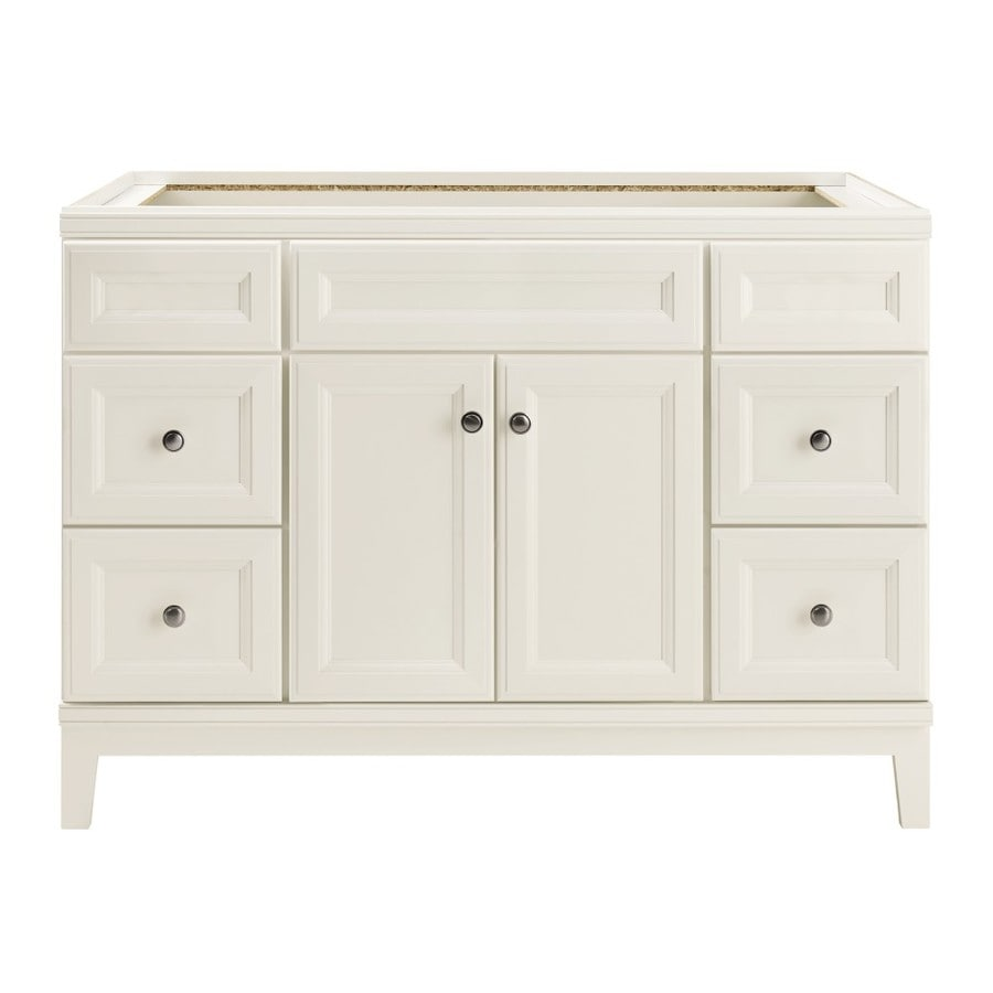 Shop diamond freshfit calhoun freestanding white bathroom vanity common 48 in x 21 in actual White bathroom vanity cabinets