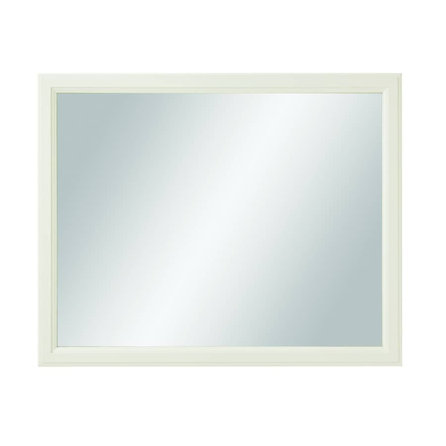 Bathroom mirrors framed 40 inch - Diamond Freshfit Calhoun 42 In X 34 In White Rectangular Framed Bathroom Mirror