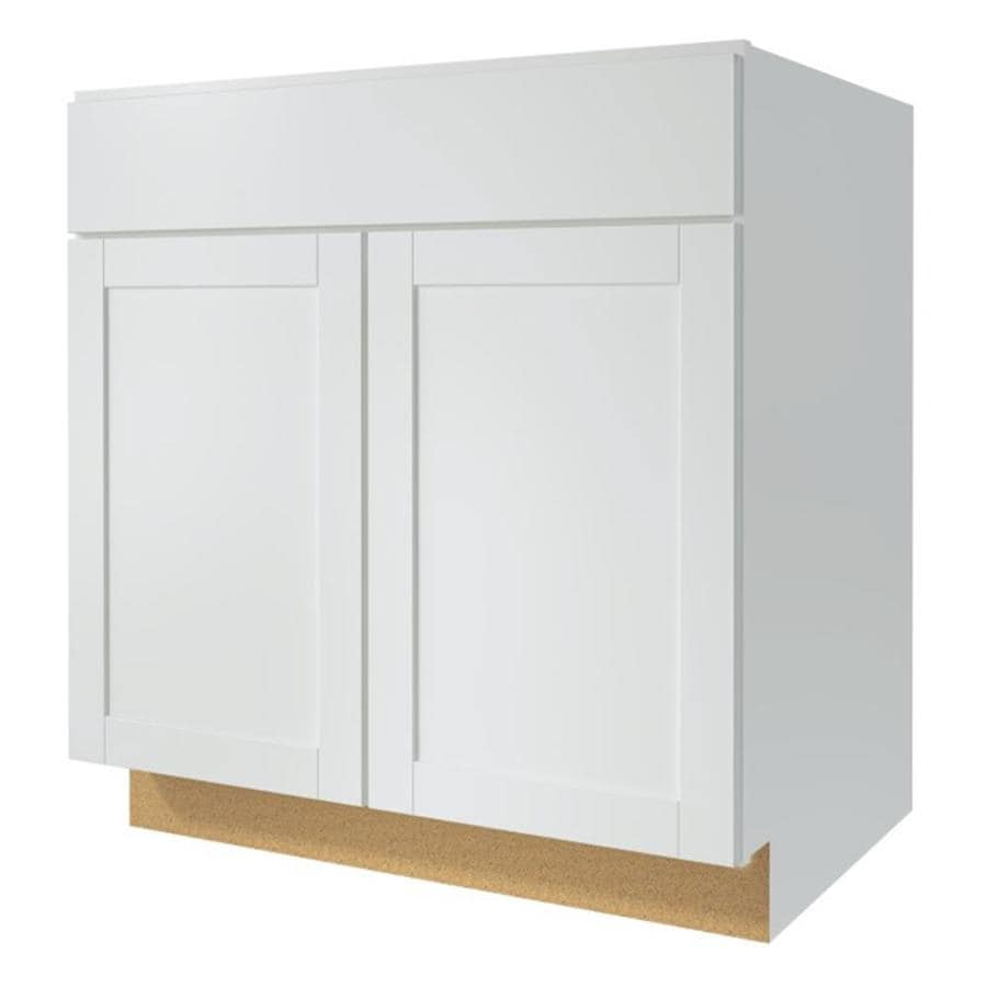 Shop diamond now arcadia 33 in w x 35 in h x d white shaker door and drawer base Kitchen cabinets 75 off