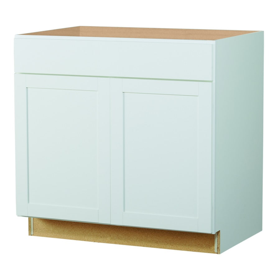 Lowes lower kitchen cabinets - Diamond Now Arcadia White Shaker Sink Base Cabinet
