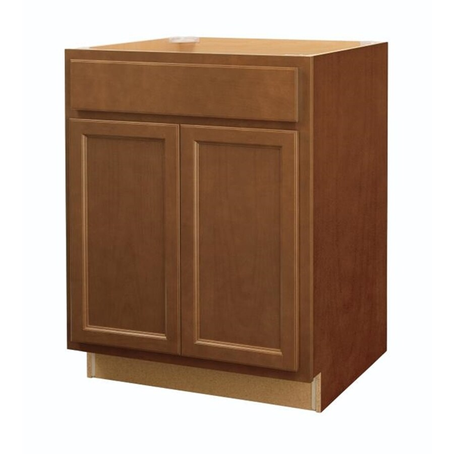 Diamond NOW Weyburn 27-in W x 35-in H x 23.75-in D Brown Door and Drawer Base Cabinet