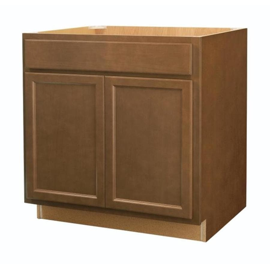 33 in w x 35 in h x d brown sink base cabinet at