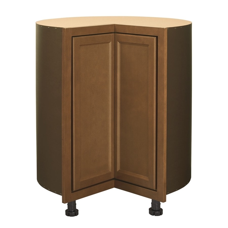 Diamond NOW Weyburn 36-in W x 35-in H x 23.75-in D Stained Saddle Lazy Susan Corner Base Cabinet