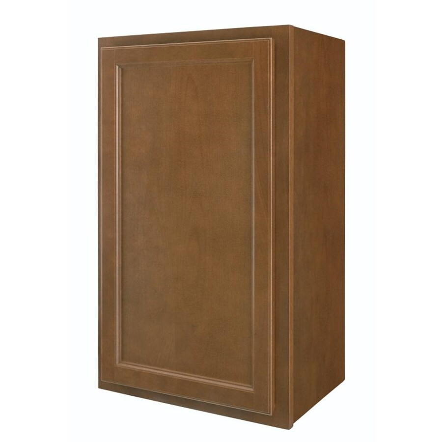 Diamond NOW Weyburn 18-in W x 30-in H x 12-in D Brown Door Wall Cabinet