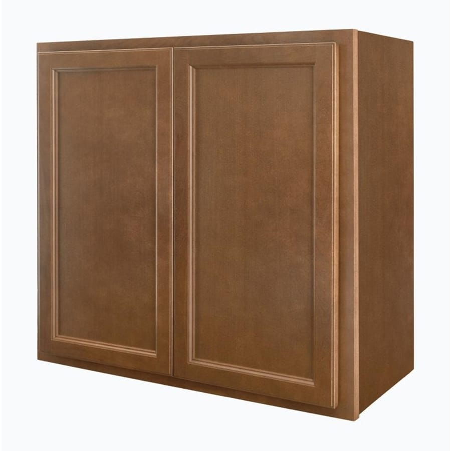 Diamond NOW Weyburn 30-in W x 30-in H x 12-in D Brown Door Wall Cabinet