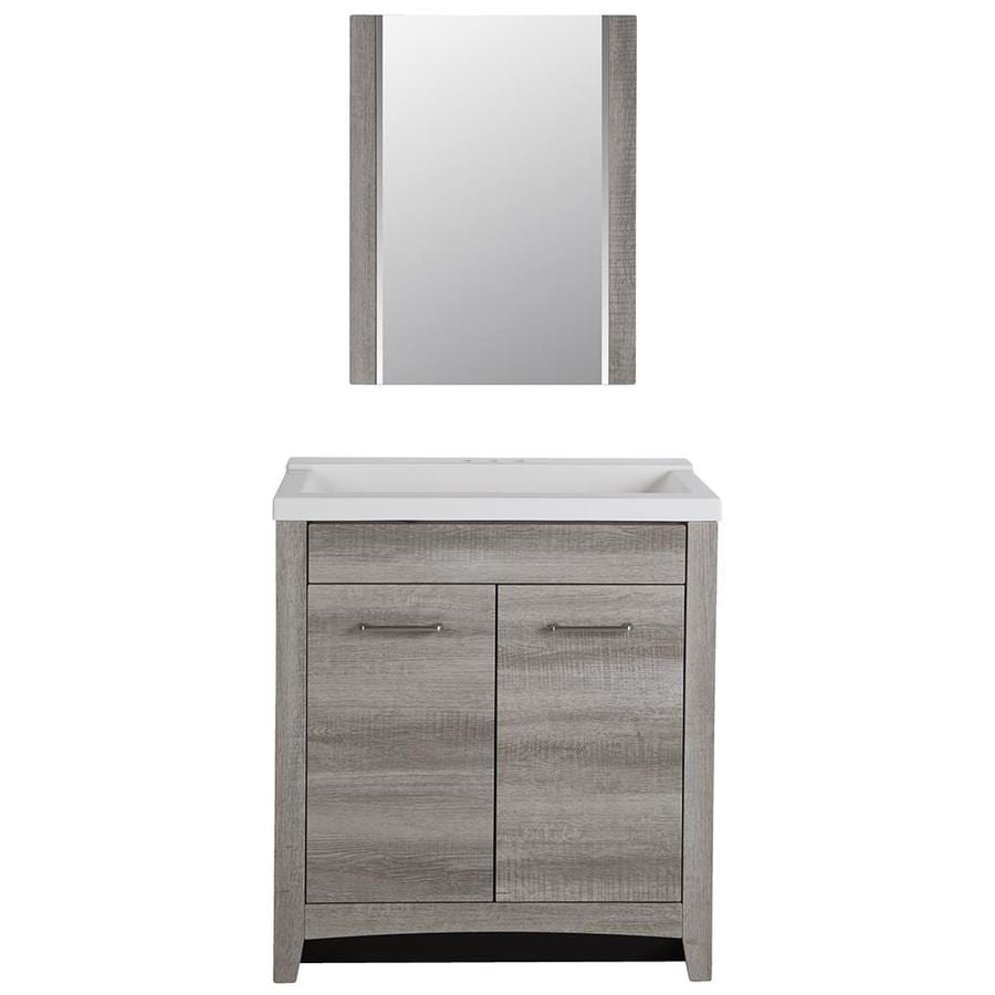 Style Selections Highland Gray Textured Integral Single Sink Bathroom Vanity With Cultured Marble Top Common