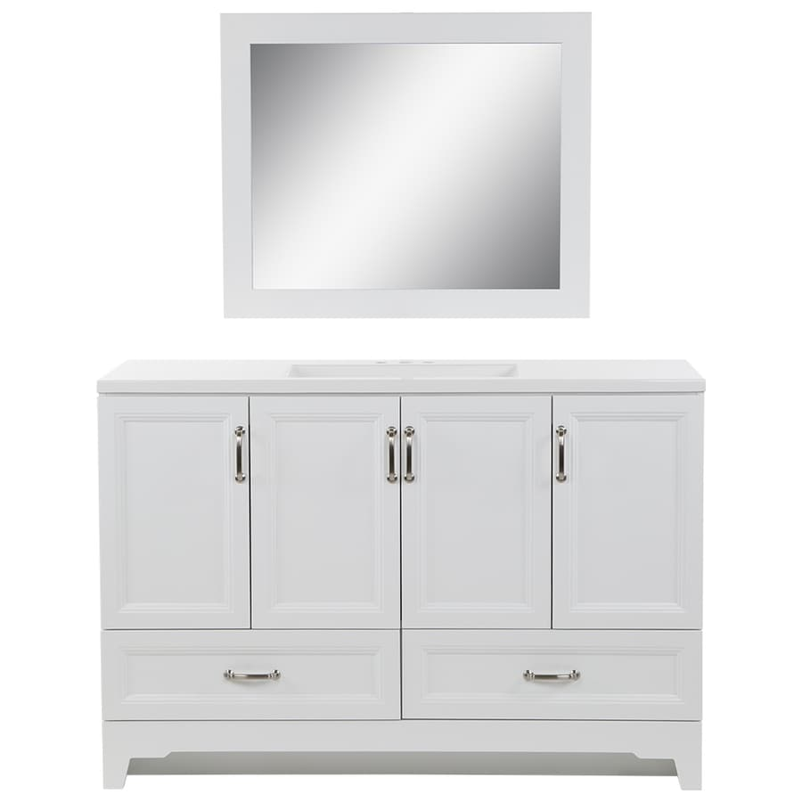 Style Selections 48.5-in White Single Sink Bathroom Vanity with White Cultured Marble Top and Mirror