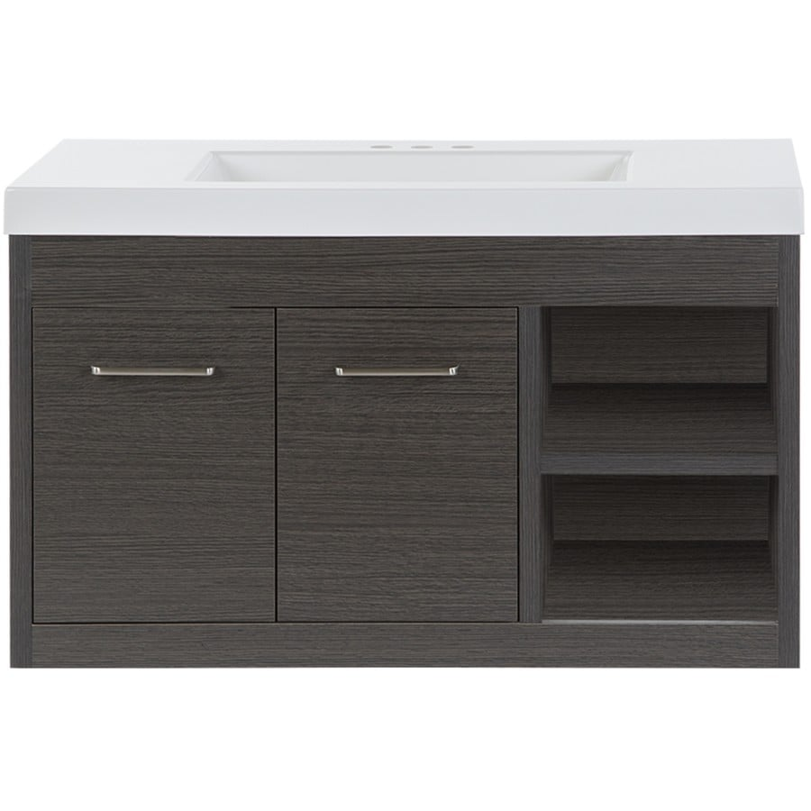 Style Selections Vada 36 In Sable Single Sink Bathroom Vanity With White Cultured Marble Top In The Bathroom Vanities With Tops Department At Lowes Com