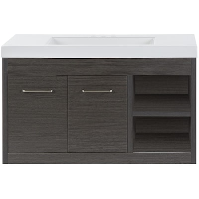 Floating 36 5 In Sable Single Sink Bathroom Vanity With White Cultured Marble Top