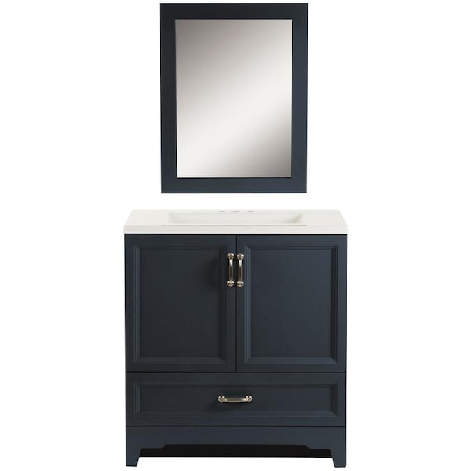 Style Selections 30 25 In Navy Single Sink Bathroom Vanity With White Cultured Marble Top Mirror Included In The Bathroom Vanities With Tops Department At Lowes Com