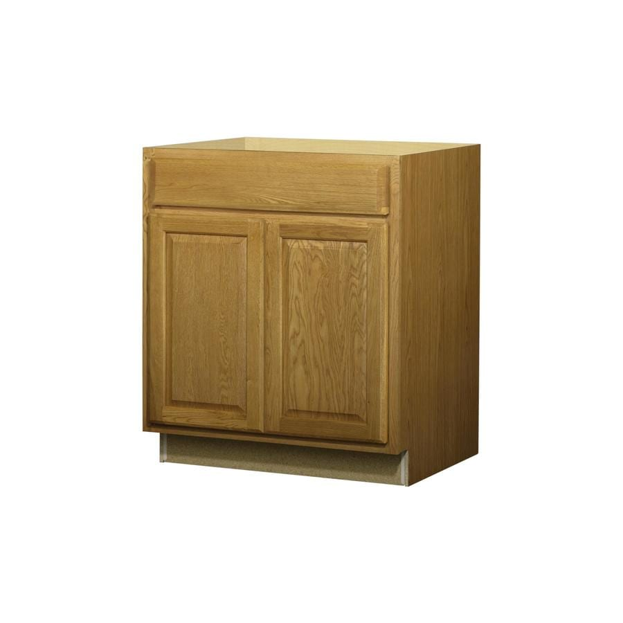 Diamond NOW Portland 30-in W x 35-in H x 23.75-in D Stained Wheat Door and Drawer Base Cabinet