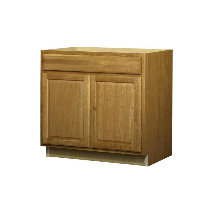 beautiful Kitchen Sink Cabinets Lowes #7: Diamond NOW Portland 35-in H x 23.75-in D Stained Wheat Sink Base